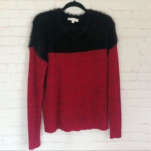 [Two Vince Camuto] red and black fur sweater large